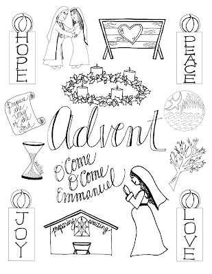Look to him and be radiant keeping advent advent for Printable advent coloring pages