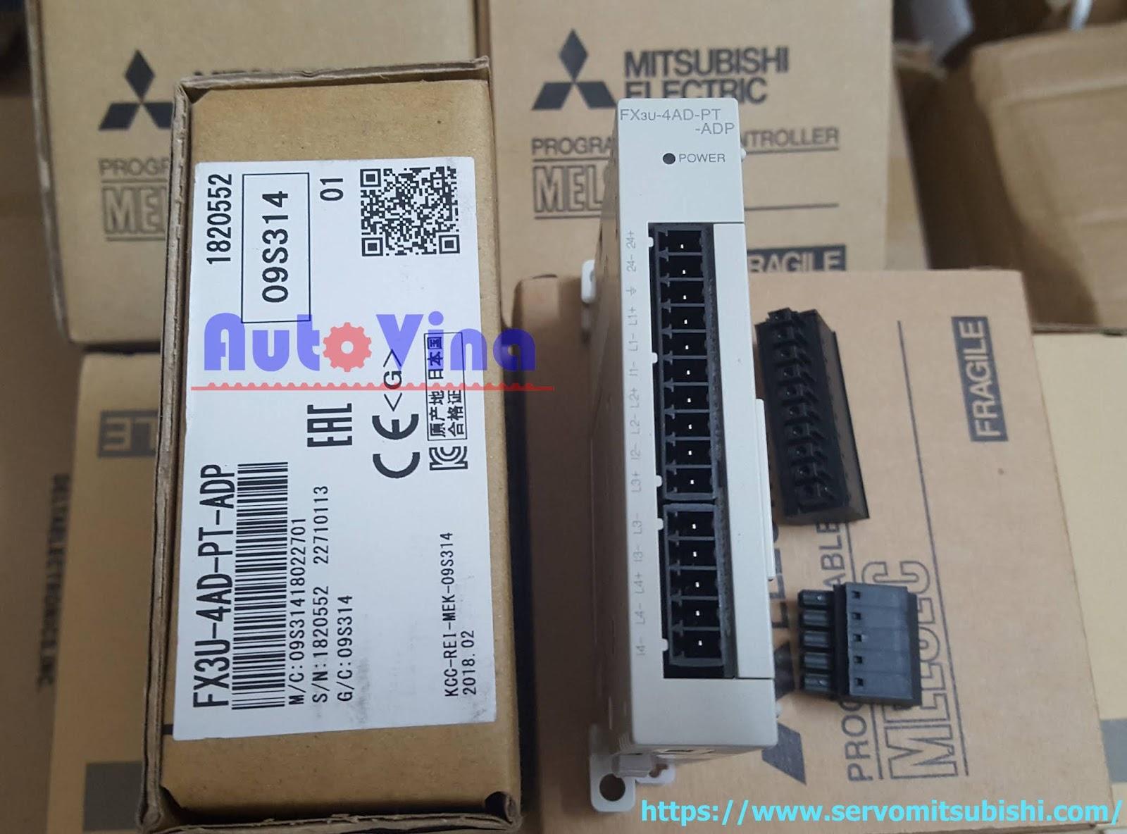 Module temperature PT100 PLC Mitsubishi hàng mới new 100% Full box Module PLC Mitsubishi FX3U-4AD-PT-ADP