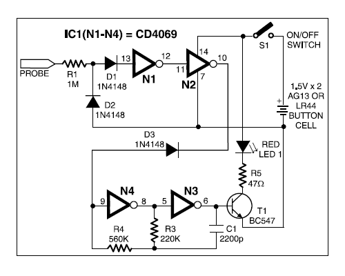 alarm 5 zone circuit using cmos ic