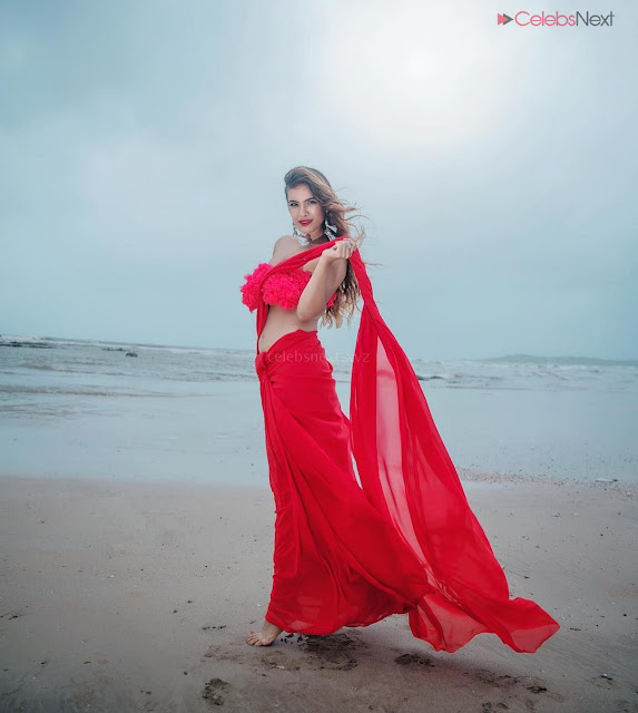 Neha Malik in Red Saree Amazing Beauty Stunning Red   .xyz Exclusive 001.jpg
