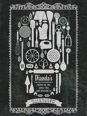 utensilios de cocina formando una calavera