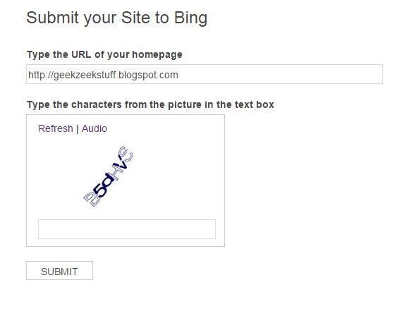 Submitting Blog URL to Bing