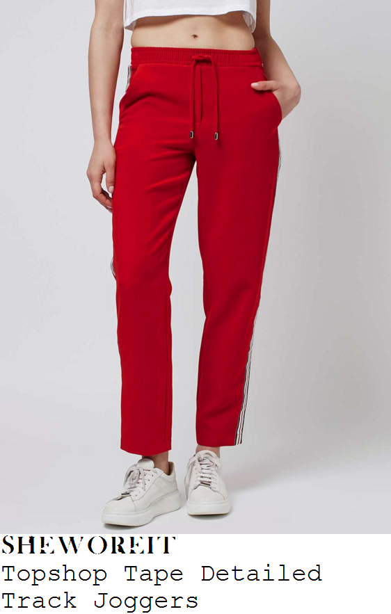 danielle-armstrong-topshop-bright-red-tape-contrast-side-detail-joggers