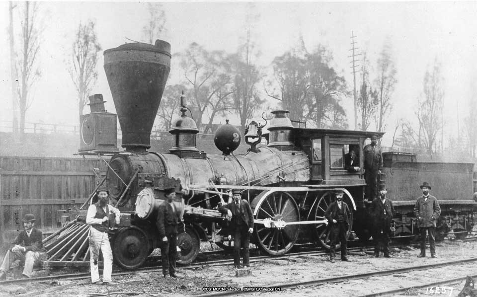 "Photo: First steam locomotive built in Canada: ""Toronto"", the Northern Railway of Canada's Locomotive No. 2"