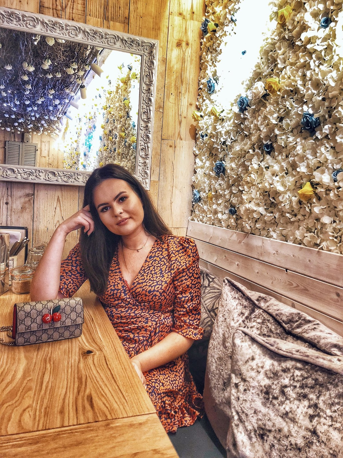 boohoo Satin Leopard Print Ruffle Wrap Tea Dress, cheap never fully dressed, never fully dressed discount code, megans balham, instagram places in london, cheap bottomless brunch in london, under £20 bottomless brunch