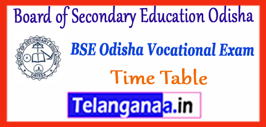BSE Odisha Board of Secondary Education Odisha Vocational Exam Time Table 2018