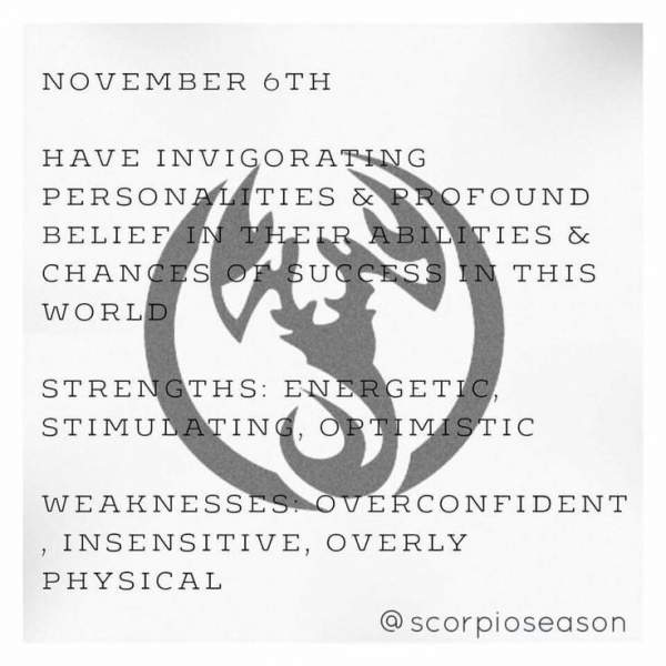 born 6 november scorpio horoscope