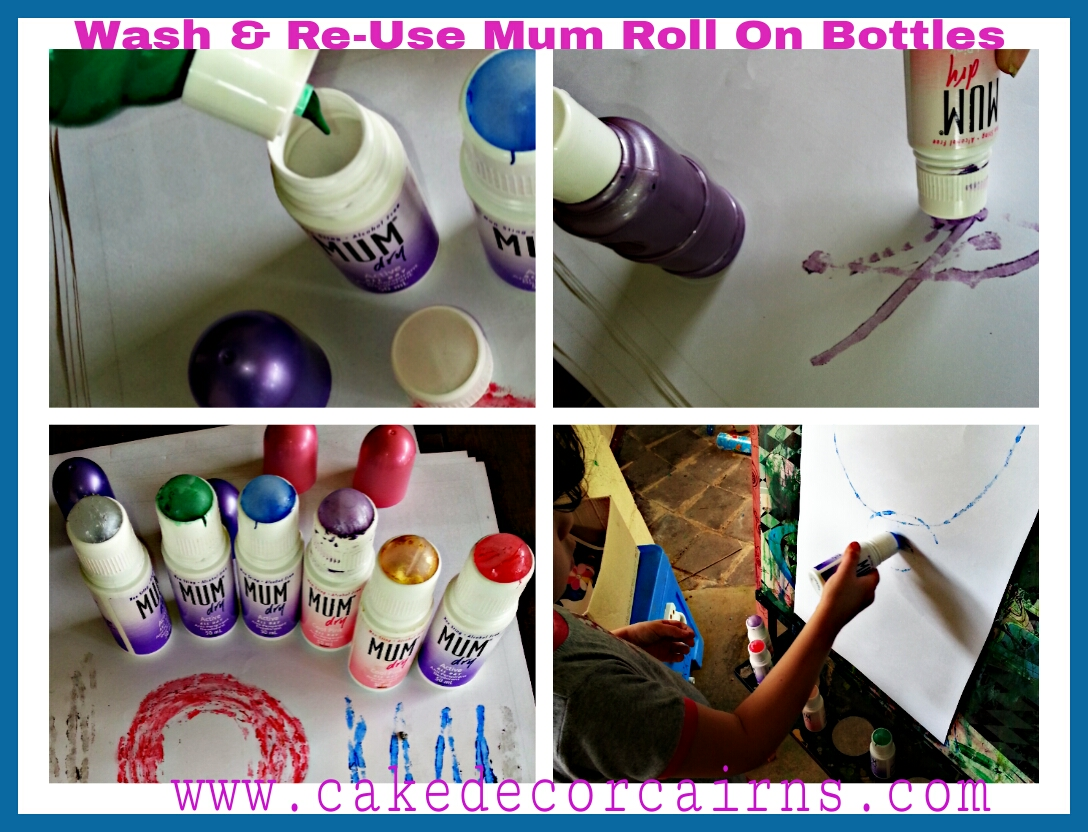 Recycle Mum Roll on bottles for  fun painting activities for kids kindy