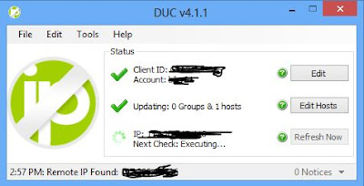No-IP DUC Client Installed on Windows PC