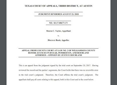 Shawn C. Taylor v. Discover Bank, No. 03-17-00677-CV (Tex.App. – Austin, Aug. 23, 2018)