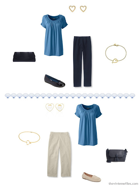 2 ways to wear a teal top from a 4 by 4 Travel Capsule Wardrobe
