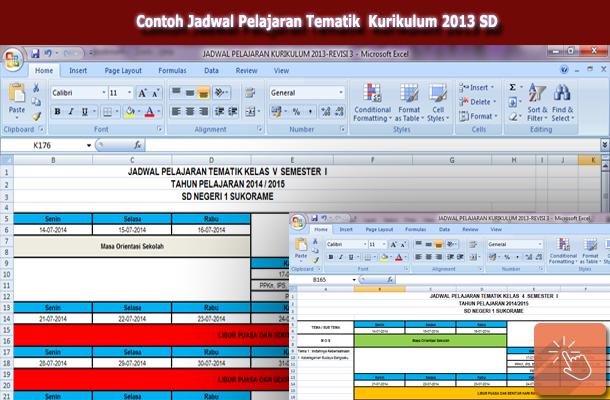 Download Contoh Jadwal Pelajaran Tematik Kurikulum 2013 SD