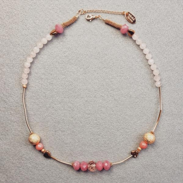 Blush Pink And Gold Mink&Stone Valentine's Day Necklace