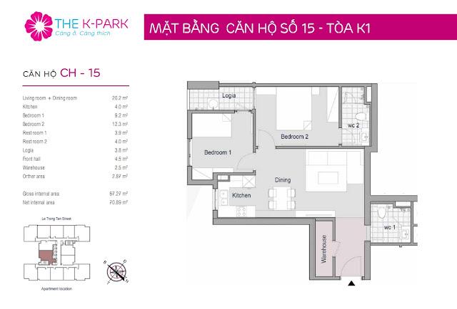 Căn hộ 15, 67m2, 02 phòng ngủ