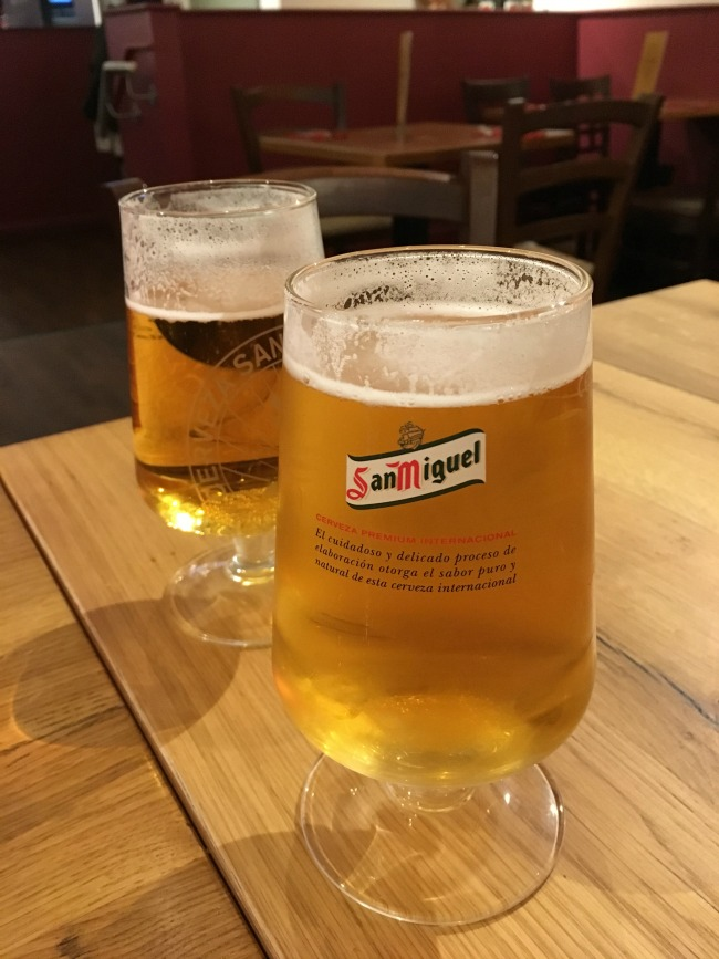 two pints of San Miguel beer at La Bodega Spanish Tapas Bar Cardiff