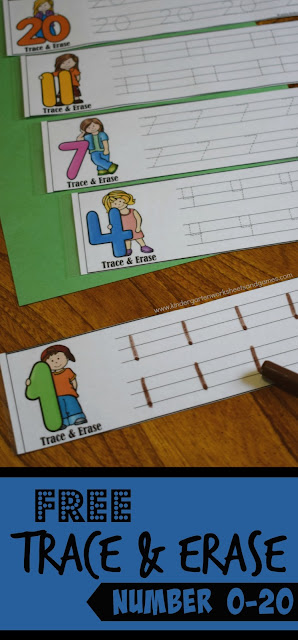 FREE Trace and Erase Numbers 1-20 - such a fun way for preschool, prek, kindergarten, and first grade kids to practice writing numbers as part of a math center, math practice, learning at home or homeschool