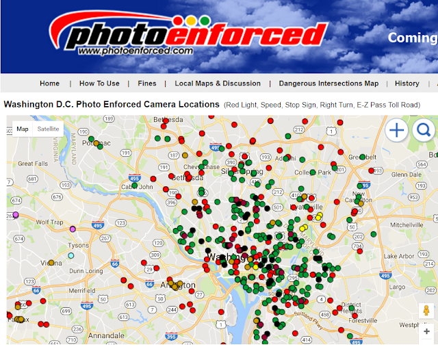 DC photo enforced street camera locations