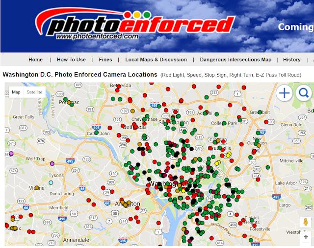DC photo enforced street camera locations