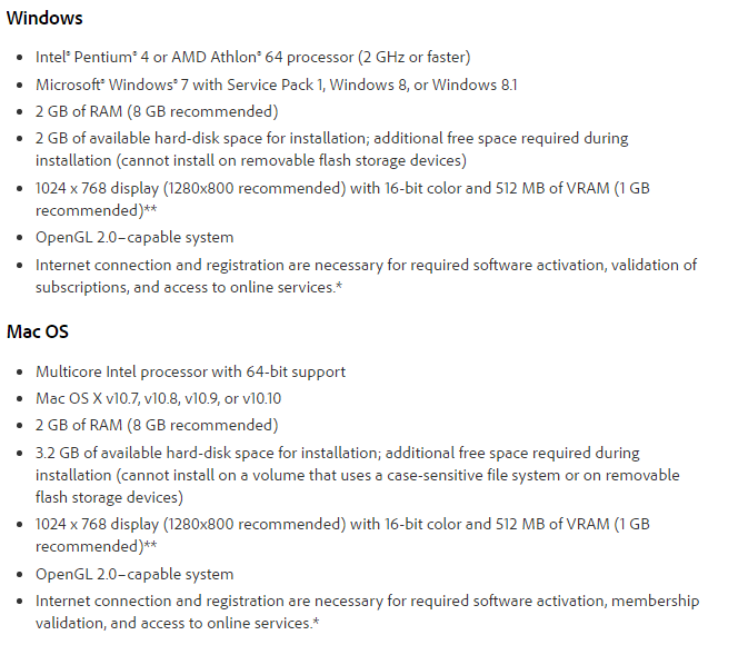 Adobe Photoshop CC 2014 System Requirements