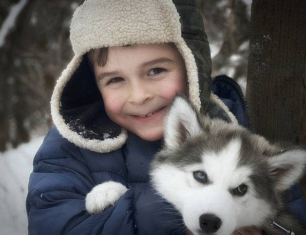 Cute boy in snow hat with Husky puppy