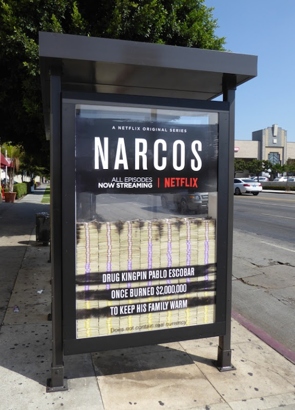 Narcos season 2 special bus shelter ad installation