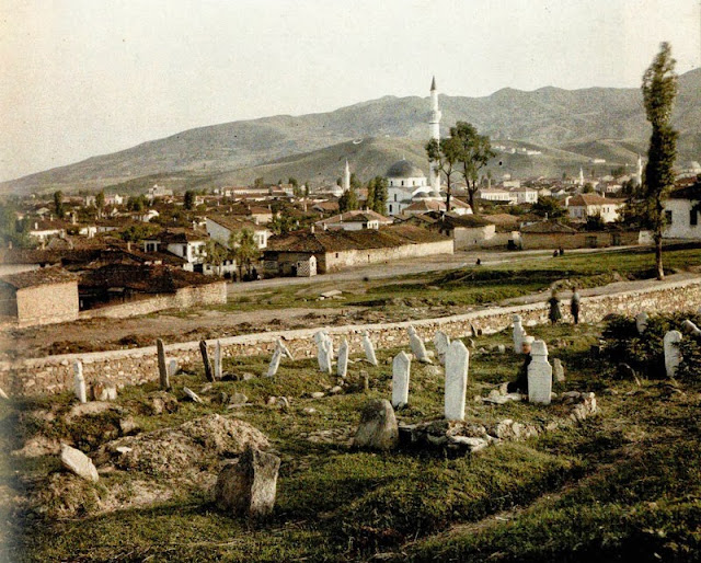 View of Bitola from the north-east side, at the site of the Turkish cemeteries, today the Uchici settlement, with the Hajdar Kadi mosque (1561-1562) in the foreground. Also seen are Sungur Chaush, Yeni and Isak Mosques, as well as the Clock Tower.. Bitola in 1913