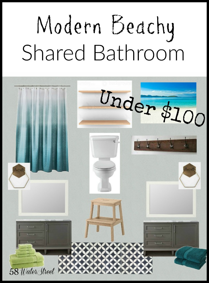 58 Water Street - shared beachy bathroom design plan for $100