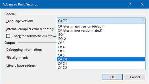Visual Studio 2017 advanced build settings