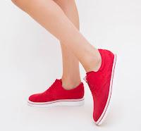 Pantofi Casual femei din piele eco intoarsa Rosii