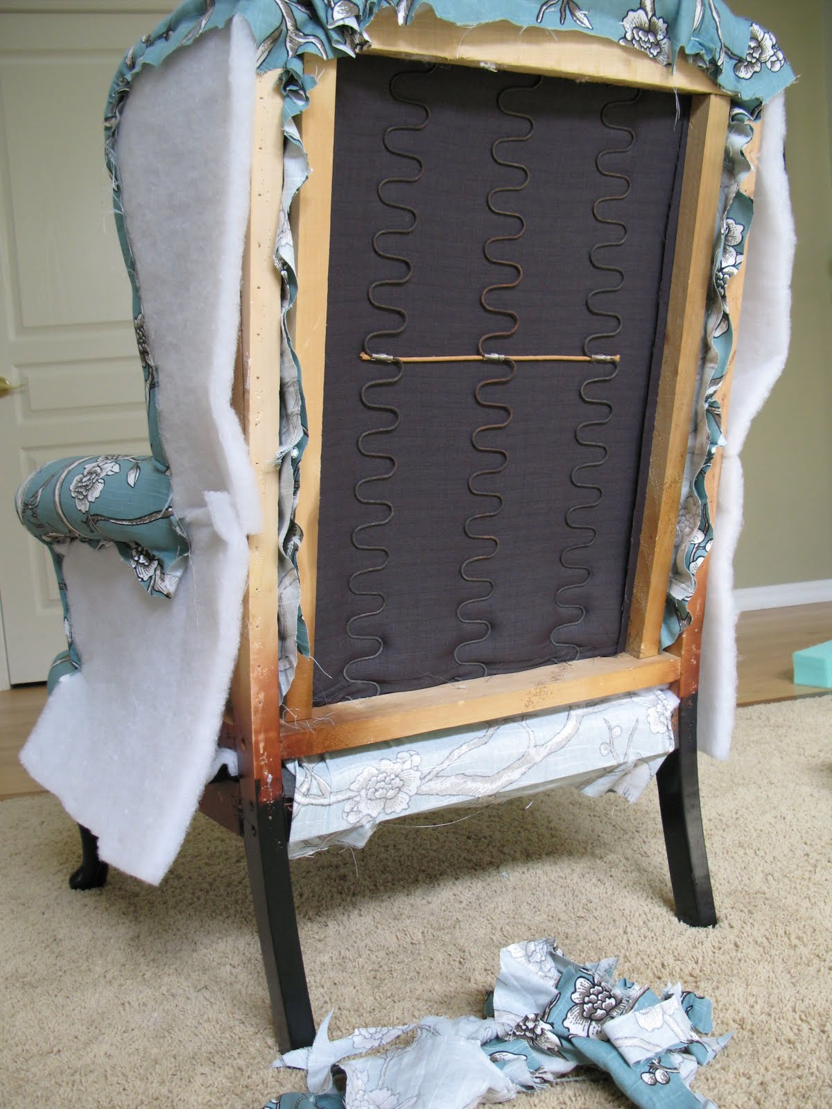 How To Diy Reupholster A Chair Padding For Dining Room Chairs Modest Maven Vintage Blossom Wingback