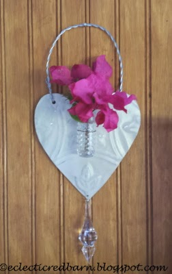 Eclectic Red Barn: Vintage metal heart with vase,crystal, and fresh flowers