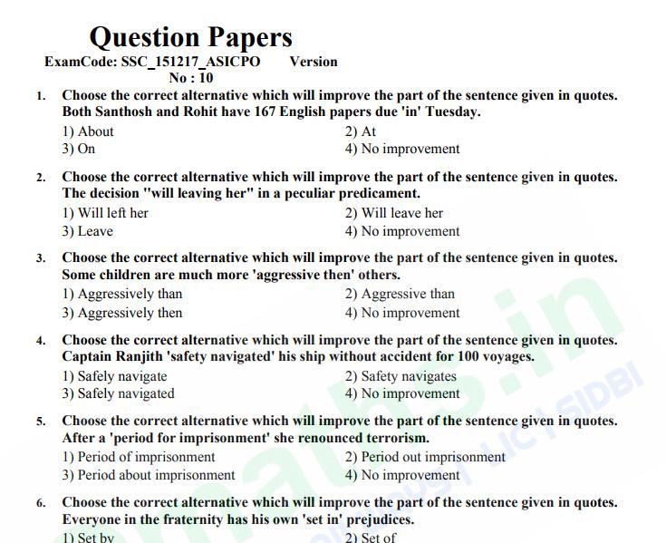 Ssc Cgl 2012 Tier 2 English Question Paper Pdf