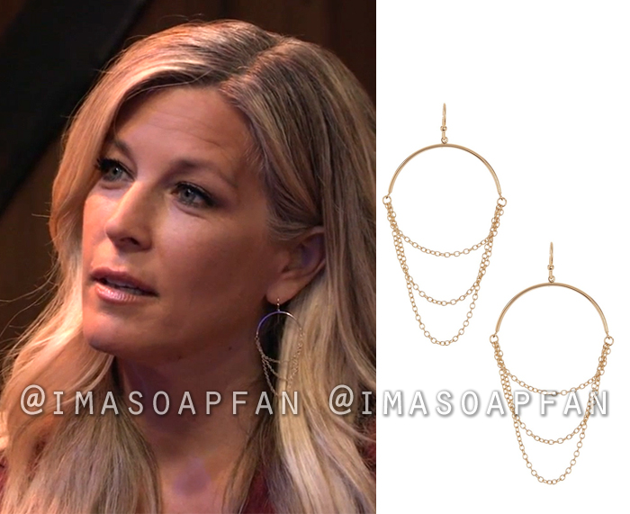 Carly Corinthos, Laura Wright, Triple Chain Drop Earrings, General Hospital, GH