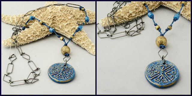 Blue Gold Necklace by BayMoonDesign