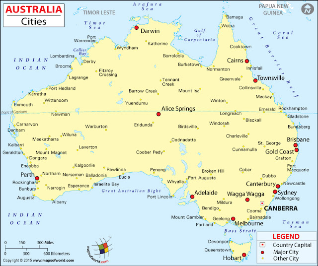 Australia Map with States and Cities