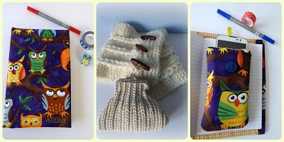 Funda de tela para agenda y movil y cuello de lana y monedero de crochet hecho a mano