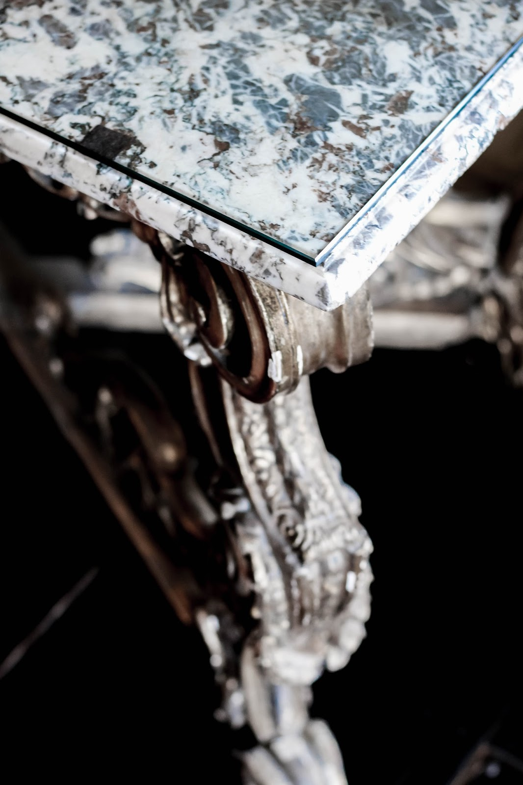 Antique Marble Table With Ornate Gold Legs