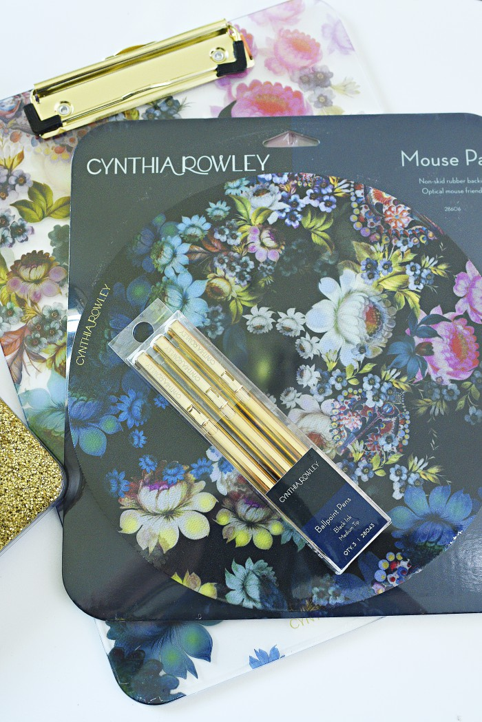 Cynthia Rowley cosmic black floral desk accessories (pens, mousepad and clipboard) review. Beautiful, colorful flowers with touches of gold.