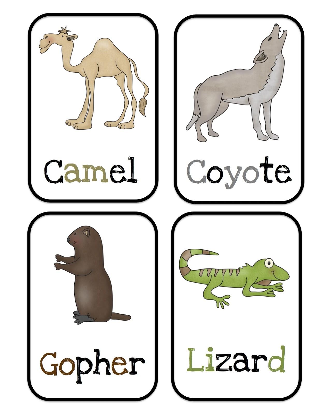 Desert Animals Bulletin Board Cards Preschool Printables