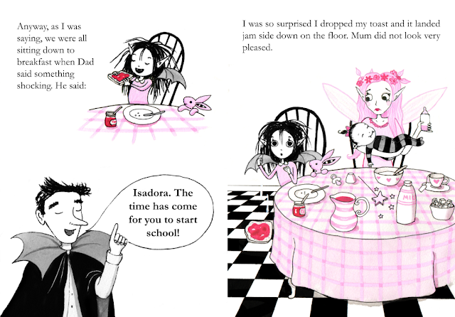 A spread from the dummy book of Isadora Moon