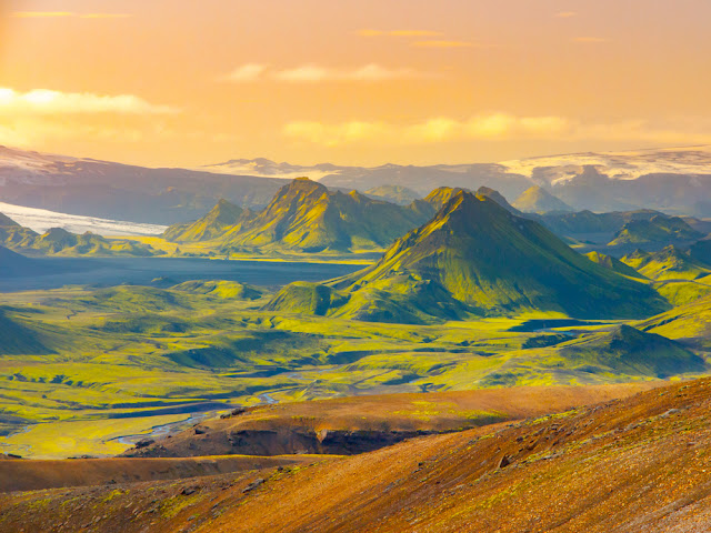 Landscape of Laugavegur trail with Alftavatn Lake in Icelandic Highlands