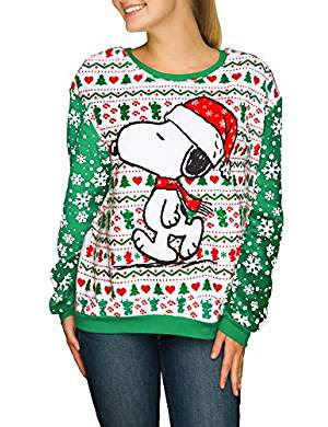 Peanuts Junior's Snoopy Minky Fleece Ugly Christmas Sweater Top #christmastimeishere #christmasmusic #learnyourchristmascarols #uglychristmassweater #charliebrownchristmas available on Amazon