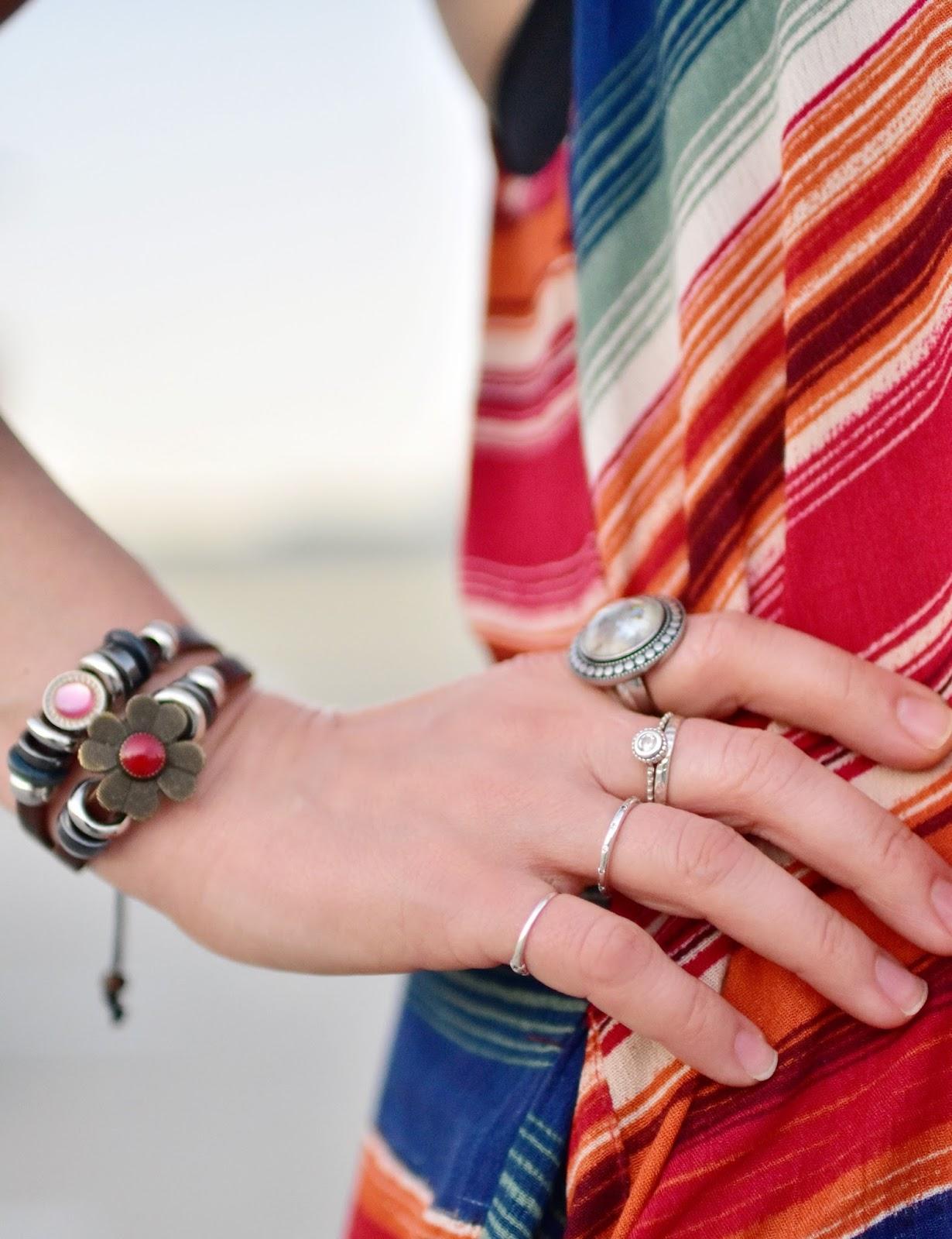 striped slipdress, beaded bracelet