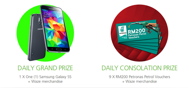 Maxis Waze Contest to win Samsung GALAXY S5 and Petronas Petrol Vouchers!