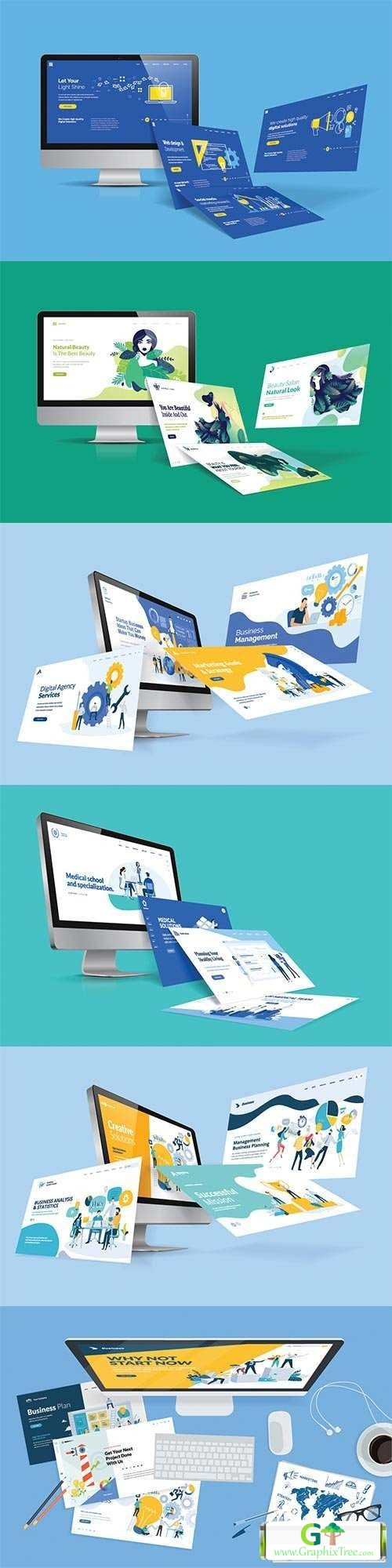 Creative workspace concept, top view, flat design vector