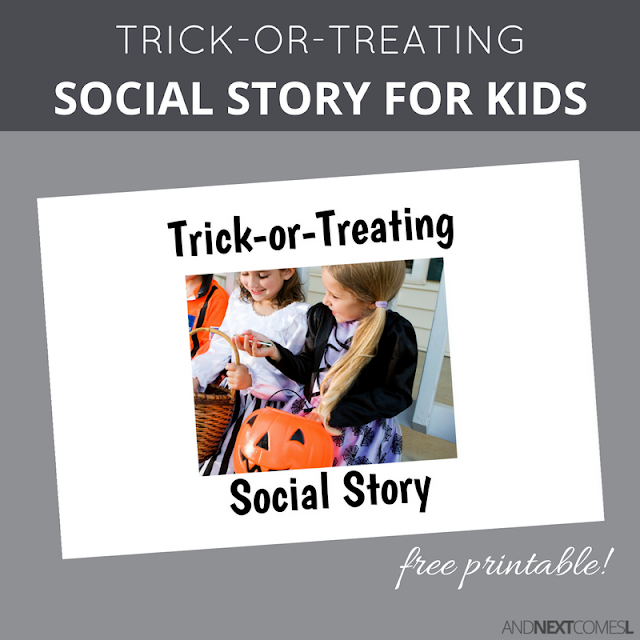 Free printable Halloween social story about trick-or-treating for kids with autism from And Next Comes L