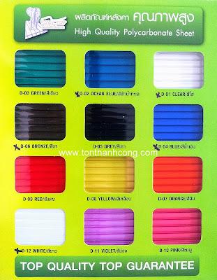 Bảng màu tấm lấy sáng Polycarbonate PolyTop Thái Lan - Dày 10mm