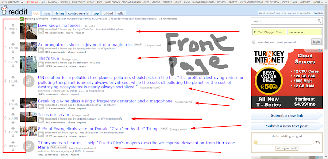 front page of reddit