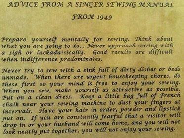 Funny Manual Image - Essential Sewing Advice - Singer Sewing Manual