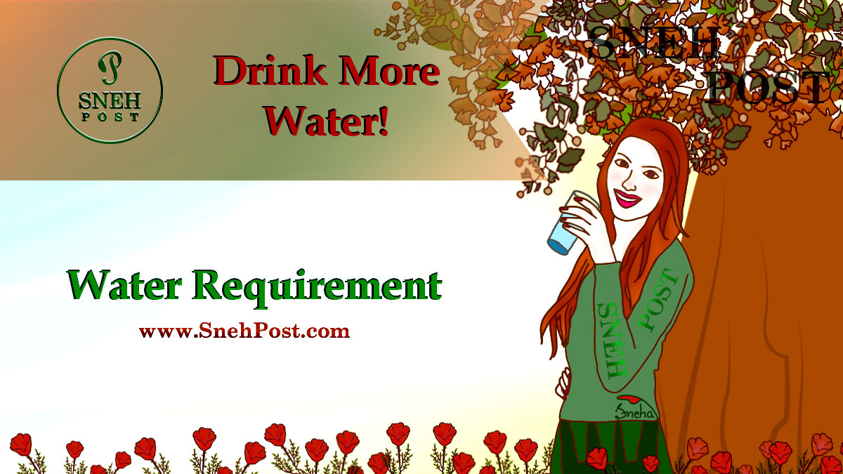 Water requirement along with nutrients: Illustration of a girl drinking water from a glass, standing near the tree trunk with message, drink more water!